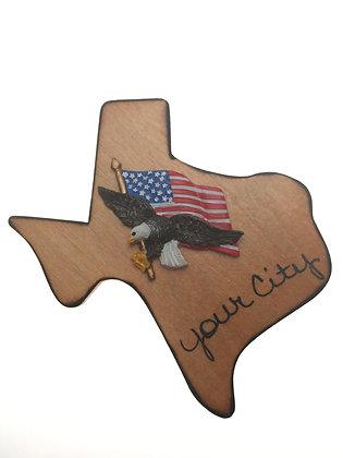 American Flag / Eagle Texas Magnet