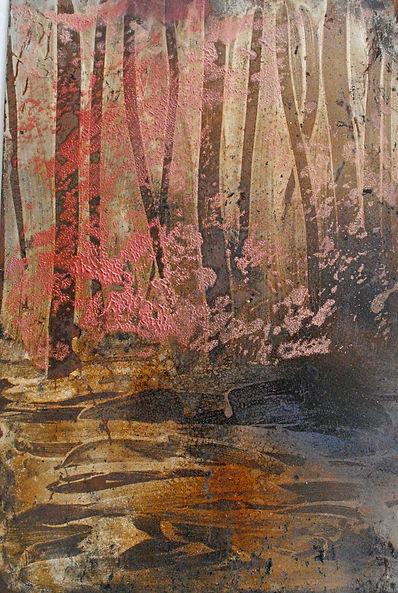 Painting and encaustic on steel