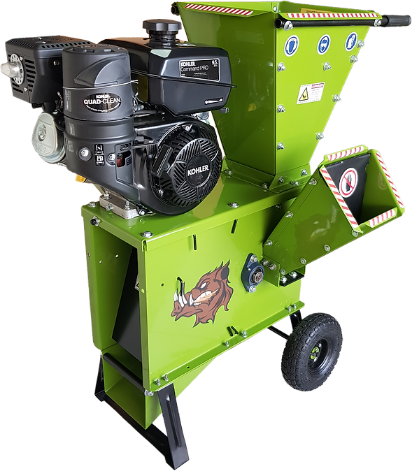 2050 wood chipper showing a discharge flap and triangle steel support with a steel made side feed chute powder coated on green color