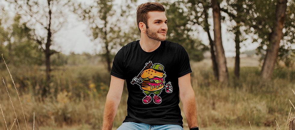 man wearing a burger gang t shirt design for men