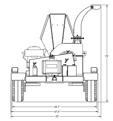 4521 commercial chipper front dimensions