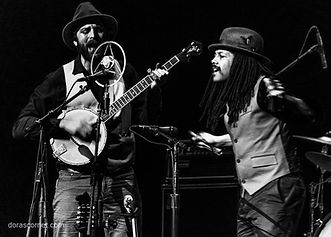 Ben with guitar Joe with banjo  Photo by Sunpie Barnes