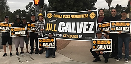 CV Firefighters Local 2180 sign waving f