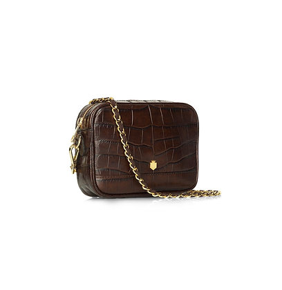 The Madison Mini Bag - Chocolate Croc Print