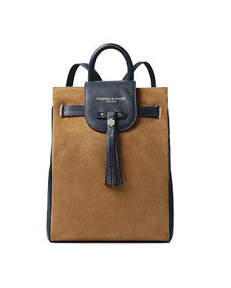 The Windsor Backpack (Tan/Navy Suede)
