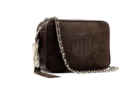 The Finsbury Suede Cross Body Bag (Chocolate)