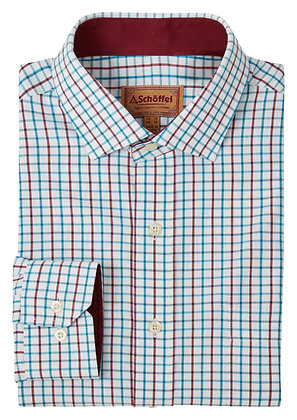 Milton Tailored Shirt (Bordeaux/Dark Teal)