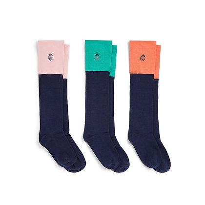 Signature Ladies Knee High Socks Gift Set (Jade/Coral/Blush Pink)