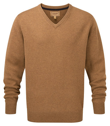 Lambswool V-Neck Jumper (Toffee)
