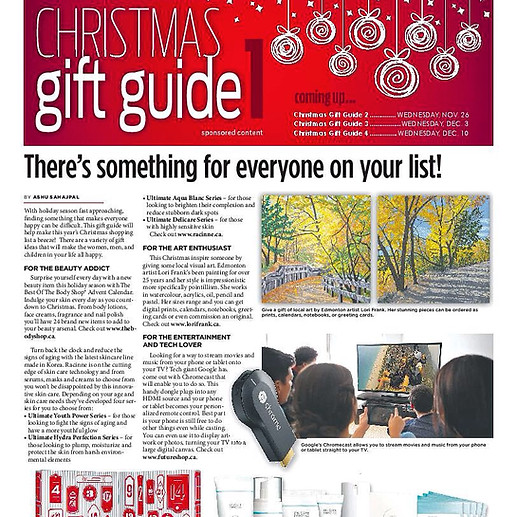 Lori's art of Edmonton's river valley was featured in their Christmas gift guide.