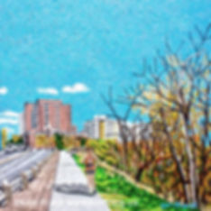 A painting of a runner going up the hill by the Victoria Golf course by local artist Lori Frank