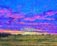 Sunset painting of a plane in the sky in Leduc County by Edmonton artist Lori Frank