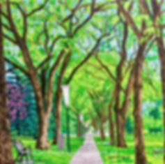 Walk with me, painting of the Legislative grounds in Edmonton by local artist Lori Frank