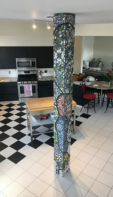 Custom mosaic pillar designed by Canadian artist Lori Frank