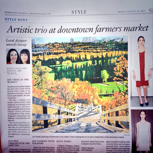 The first press coverage that I received in 2014 when I initially started showing my art at the City Market with 2 other artists.
