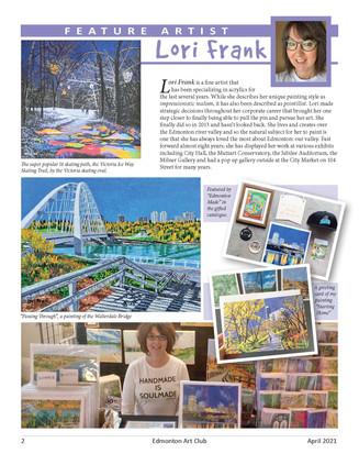 Feature in Edmonton Art Club Magazine pa