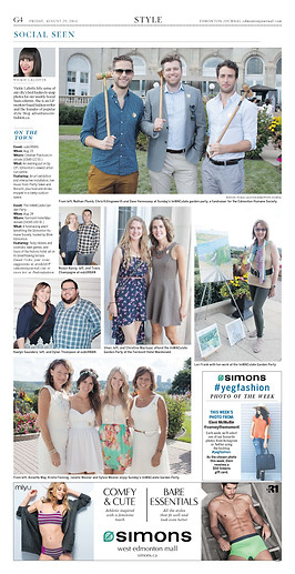 A photo of Lori with some of her paintings of Edmonton's river valley on the patio at the Hotel Macdonald appeared in the Edmonton Journal.