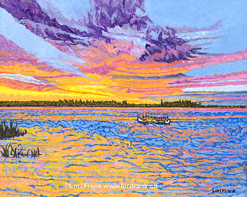 Camp Warwa painting of Lac Ste Anne with people canoeing with a sunset, by Lori Frankg