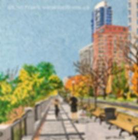 Painting of the sidewalk along Victoria Promenade in Edmonton by local artist Lori Frank