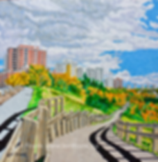 Fall trail painting of Edmonton's river valley by local atist Lori Frank