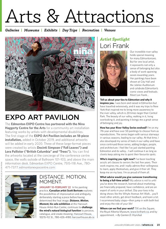 Lori Frak Artist feature in Where Magazine