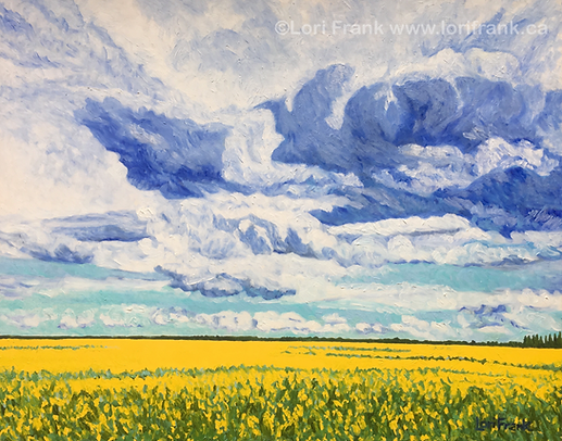 Oh Amazing Skies, paintin of canola field by Canadian artist Lori Frank