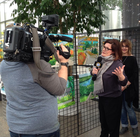 Getting interviewed by Bridget Ryan from CityTv to promote an upcoming show at the Enjoy Centre.