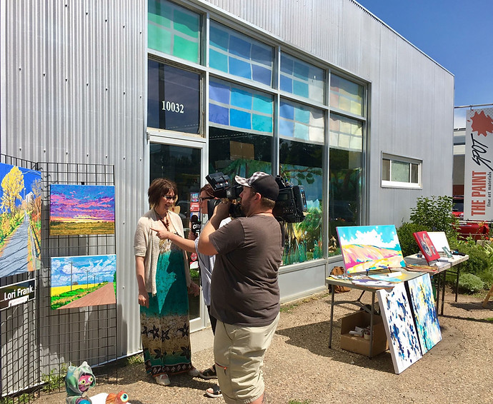 I was thrilled to get the opportunity to be interviewed again by Bridget Ryan from CityTv.  Here I am with my latest paintings outside of the Paintspot in July 2017.