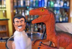 Dinosaur Walks in the a Bar