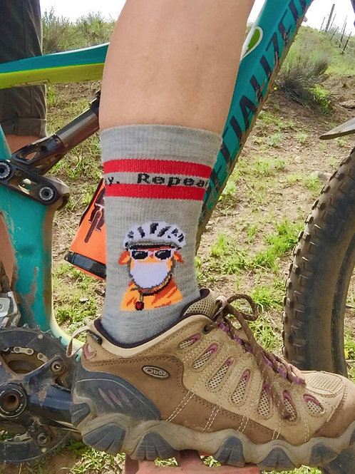 Sit. Stay. Play. Repeat.  cycling, hiking, sitting around socks