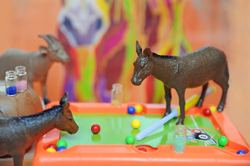 Two Asses Playing Pool with a Goat Watching