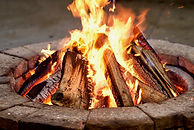 Close-up, roaring fire with blurred flam