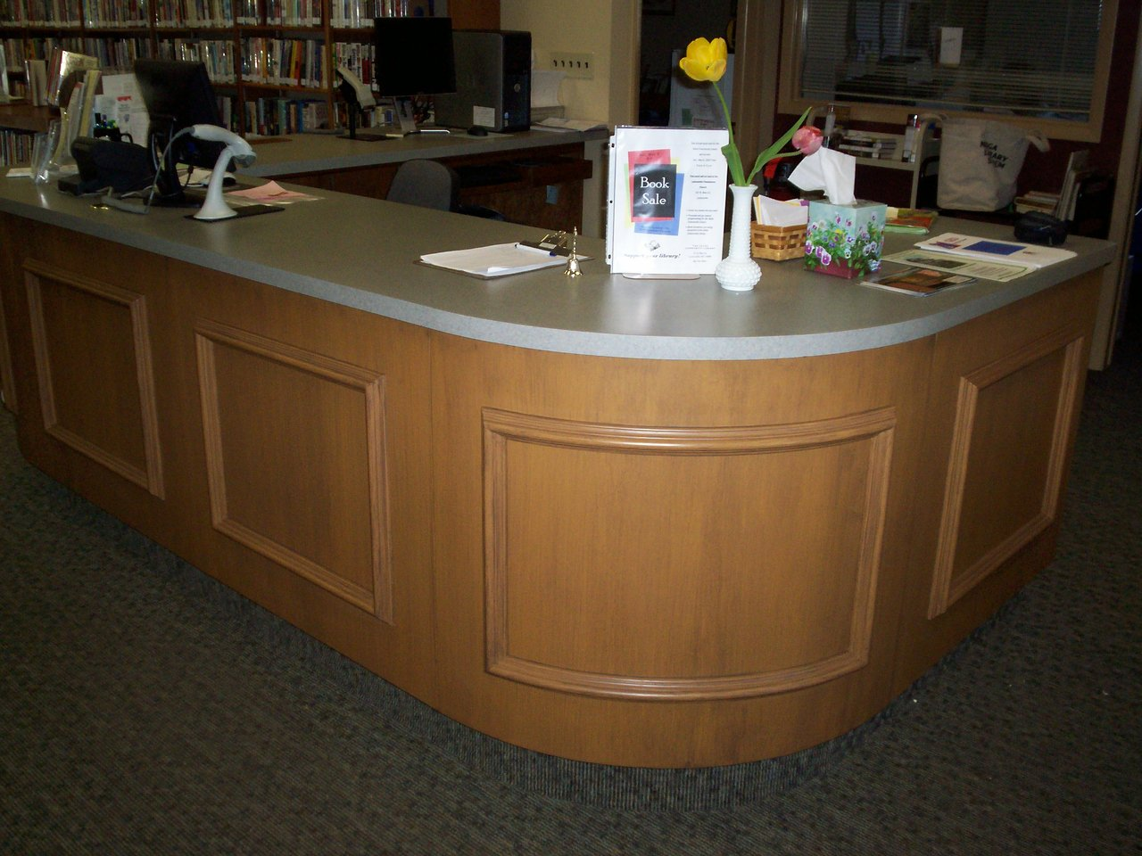 Library front reception desk