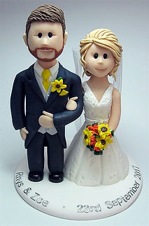 Bride & Groom Wedding Cake Topper with Yellow Bouquet