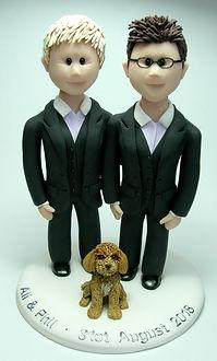 Lesbian LGBT Handmade Suited Wedding Cake Topper
