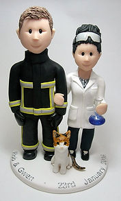 Fire Service & Scientist Themed Wedding Cake Topper