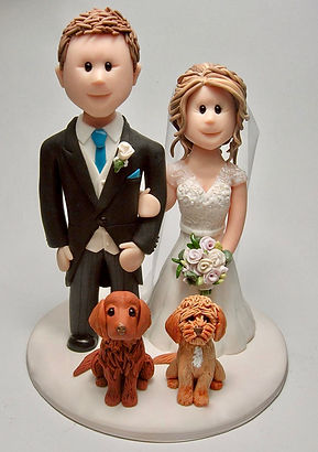 Wedding Cake Topper with Bride, Groom & Puppies