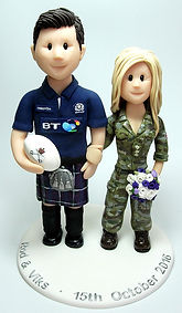 Rugby Army Themed Handmade Wedding Cake Topper
