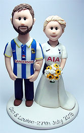 Bride & Groom Wearing Football Tops Cake Topper