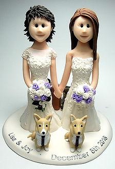Handmade Lesbian LGBT Wedding Cake Topper Dogs