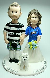 Handmade Football Themed Wedding Cake Topper