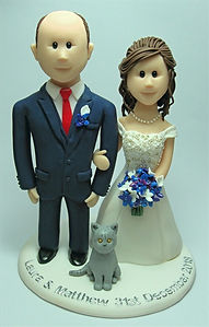 Wedding Cake Topper with Grey Cat