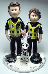 Police Uniform Themed Wedding Cake Topper
