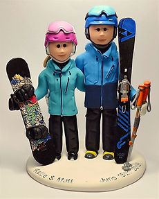 Snowboarding Wedding Cake Topper