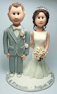 Handmade Wedding Cake Topper Grey Suit