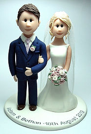 Handmade Bride & Groom Cake Topper