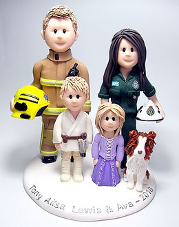Family Fireman & Nurse Cake Topper