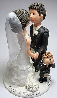 Family Wedding Cake Topper Kissing