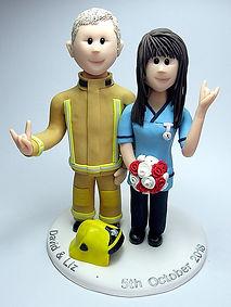 Fireman & Nurse Handmade Wedding Cake Topper