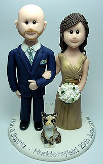 Gold Dress Wedding Cake Topper